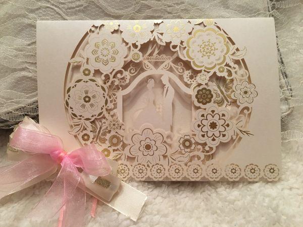 """Hochzeits-Einladung """"Flower"""", 3D, 1 Stück"""